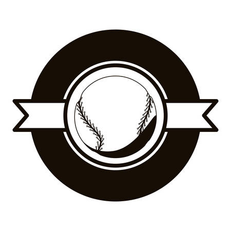 gray scale emblem with baseball ball and ribbon in middle vector illustration