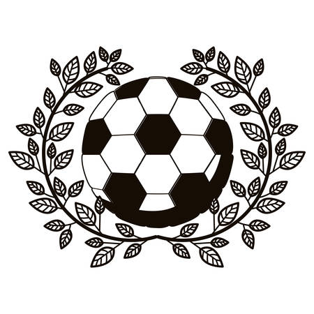 gray scale half crown of olive branch with soccer ball vector illustration Illustration