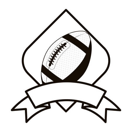 gray scale football tournament emblem with ball vector illustration