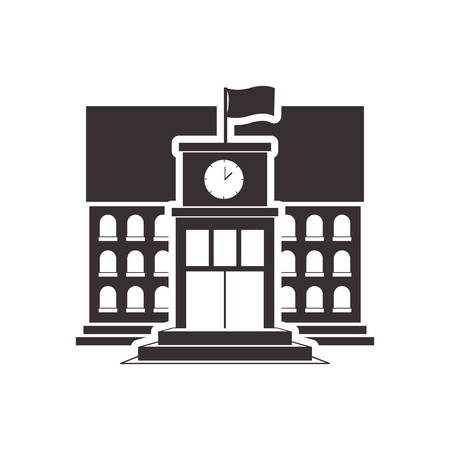 Black silhouette high school structure vector illustration