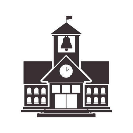 Black silhouette high school structure with flag vector illustration