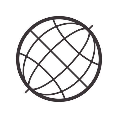 silhouete: black silhouete sphere world map vector illustration