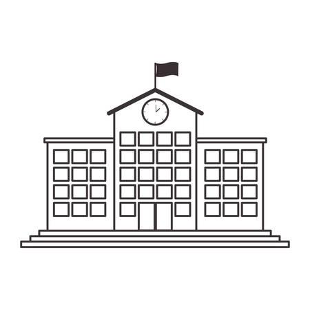 실루엣 고등학교 구조 시계와 플래그 벡터 일러스트 레이 션 스톡 콘텐츠 - 65888866