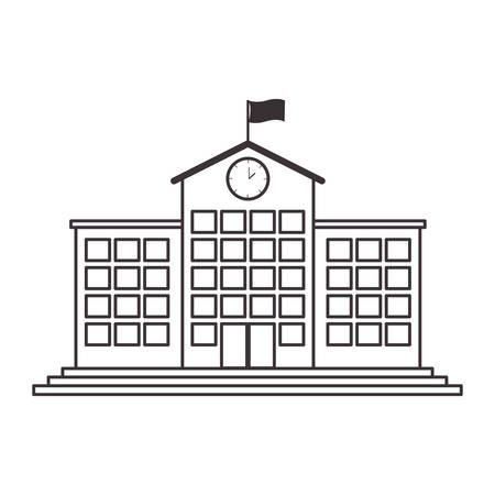 silhouette high school structure with clock and flag vector illustration