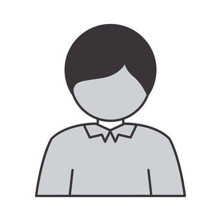 lad: half body silhouette guy with t-shirt vector illustration