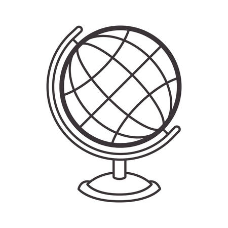 silhouete sphere world map with base vector illustration Illustration