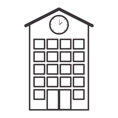silhouette high school structure with clock vector illustration