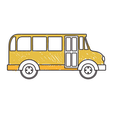 buss: yellow silhouette school bus to right side vector illustration