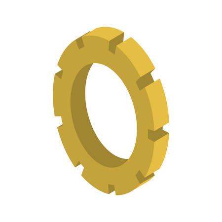 tridimensional silhouette gear wheel icon vector illustration