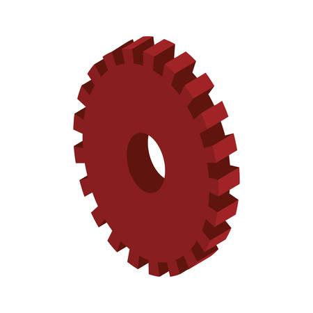 tridimensional: tridimensional silhouette red gear wheel icon vector illustration Illustration