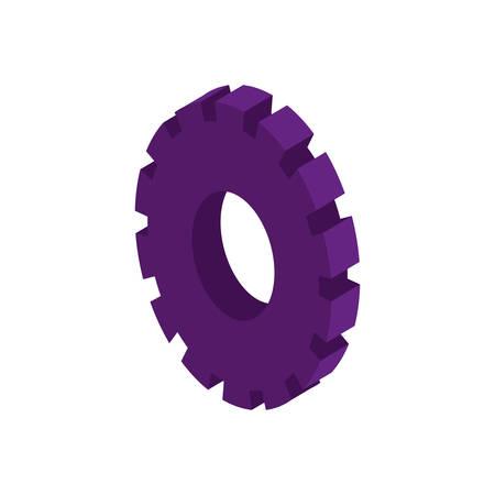 tridimensional: tridimensional silhouette purple gear wheel icon vector illustration