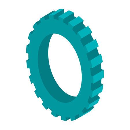 tridimensional: tridimensional silhouette blue gear wheel icon vector illustration