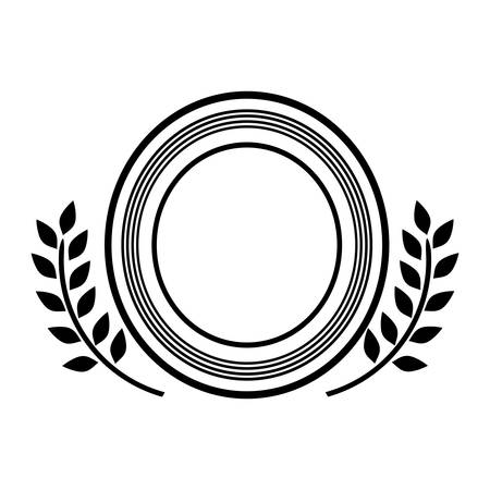 circular silhouette: black circular silhouette heraldic decorative frame with leaves vector illustration