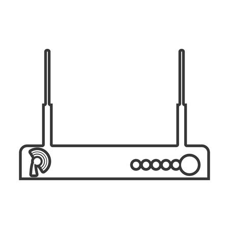 contour color monochrome wireless router vector illustration