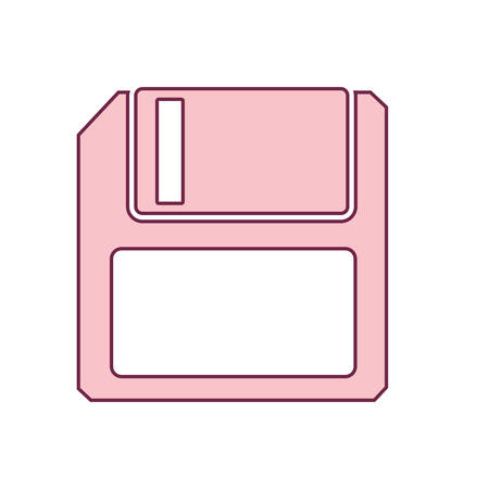 contour floppy disk computer in light ping vector illustration 向量圖像