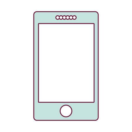 Smartphone de contorno en la ilustración de vector de color azul claro