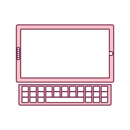 contour tablet touch in light pink color and keyboard vector illustration