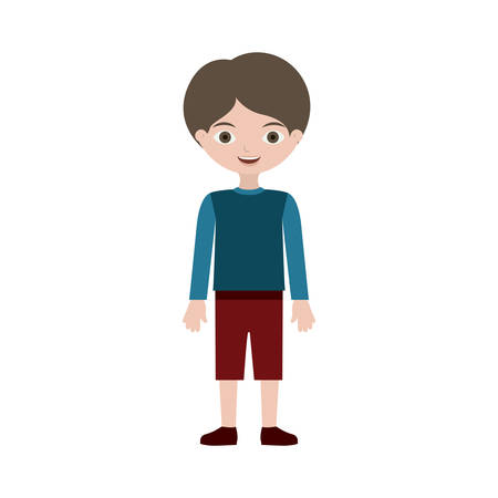 child standing with t-shirt pants and shoes, vector illustration Çizim