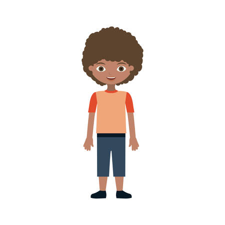 child wavy hair with t-shirt and pants vector illustration Çizim