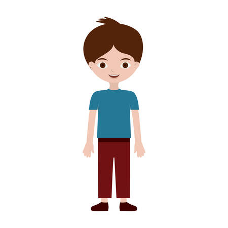 young boy with informal suit vector illustration