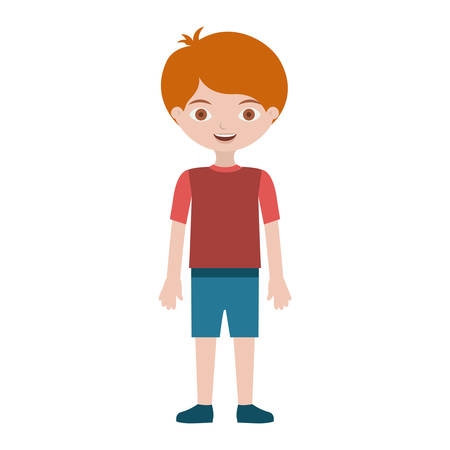 child with t-shirt and shorts vector illustration Çizim