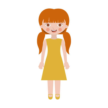 sweet girl with pigtails and dress vector illustration