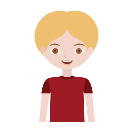 half body boy with informal suit vector illustration