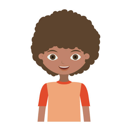 half body child with curly hair and t-shirt vector illustration Çizim