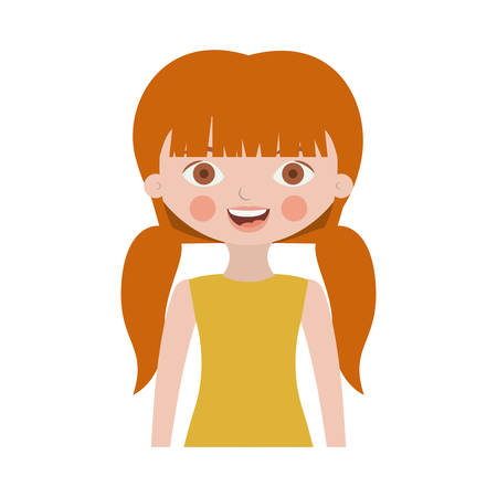 half body sweet girl with pigtails and dress vector illustration
