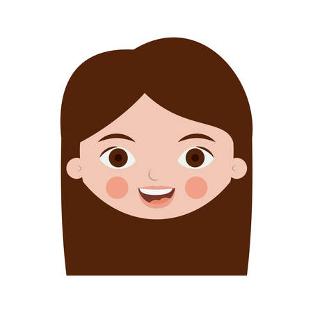front face teenager with long hair vector illustration