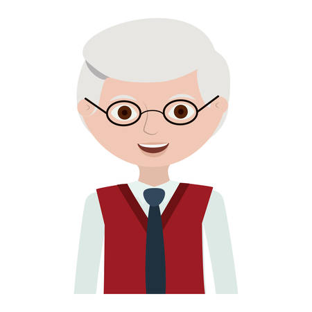 half body elderly man with glasses vector illustration
