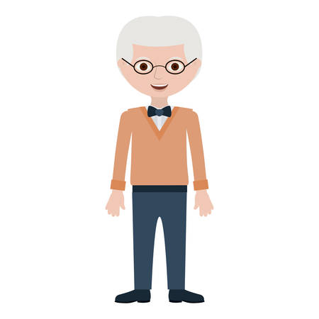 elderly man with bowtie and glasses vector illustration