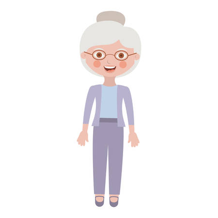 elderly woman with pants an jacket vector illustration