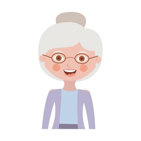 half body elderly woman with jacket vector illustration