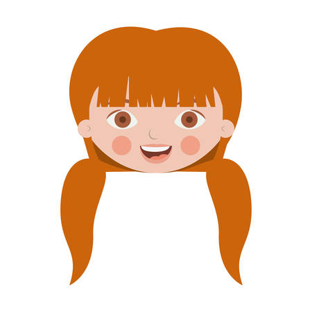 front face sweet girl with pigtails vector illustration