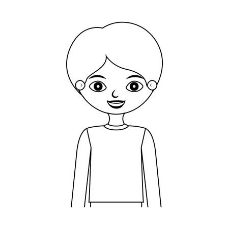 half body silhouette child with t-shirt vector illustration