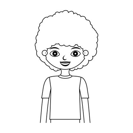 half body child silhouette with curly hair vector illustration Çizim