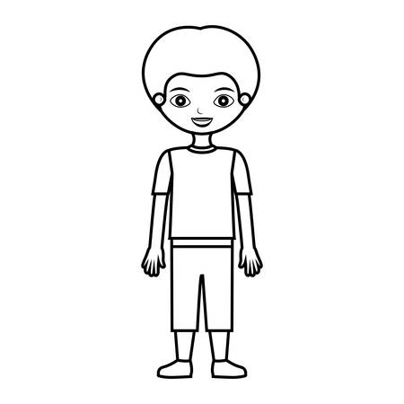 child silhouette with t-shirt and shorts vector illustration