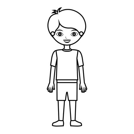 kid silhouette with t-shirt and shorts vector illustration