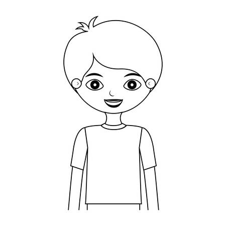 half body child silhouette with t-shirt vector illustration
