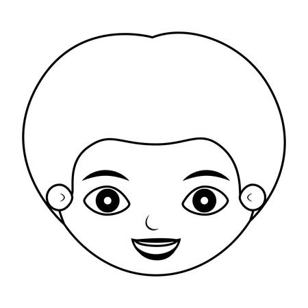 front face little guy silhouette vector illustration Vectores