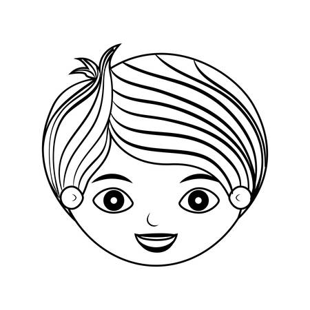 front face child silhouette with stripes hair vector illustration Illustration