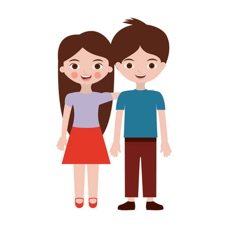 couple of children in clothing casual vector illustration  イラスト・ベクター素材