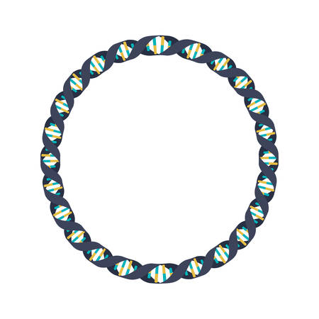 Código genético en círculo con bases en colores fríos ilustración vectorial