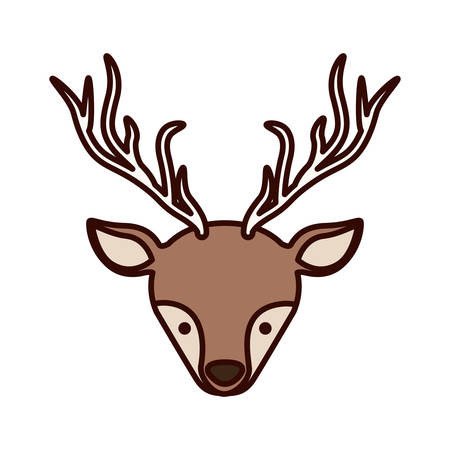 front face christmas reindeer with shadow vector illustration