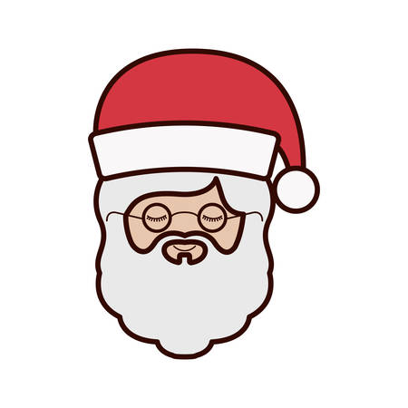 front face santa claus with christmas hat vector illustration