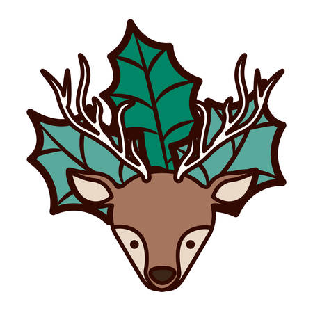ornament front face christmas reindeer with leaves vector illustration