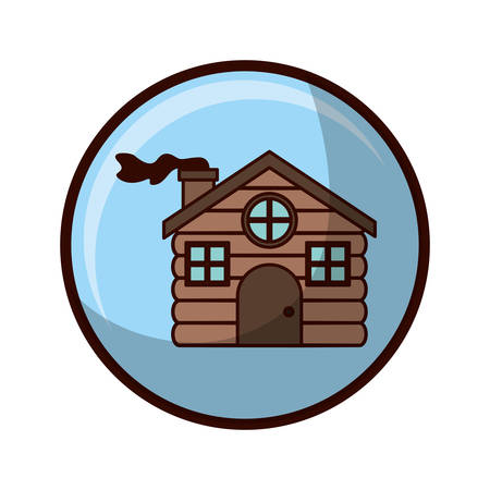 crystal sphere with house made of wood vector illustration  イラスト・ベクター素材