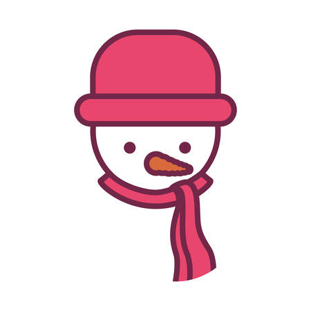 snowman with red hat and coat vector illustration
