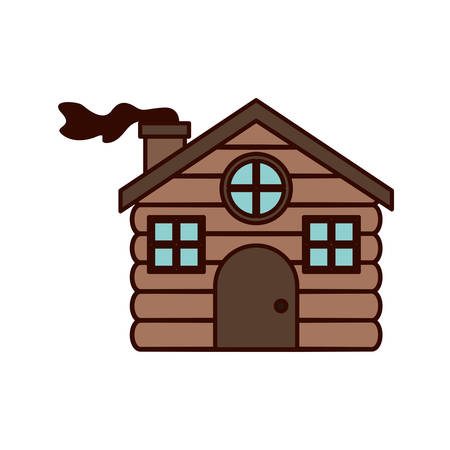 house made of wood with chimney vector illustration